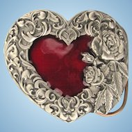 Vintage Women's Belt Buckle with Red Heart and Decorative Border by Siskiyou