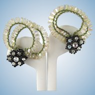 Vintage Fantasy Earrings with Iridescent Strands and Rhinestones