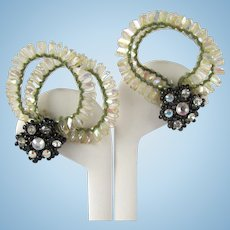 Vintage Fantasy Earrings with Flexible Iridescent Strands and Rhinestones