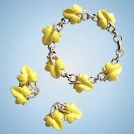 Vintage Mid-Century Bracelet and Earrings with Yellow Floral Design