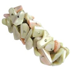 Vintage 1950's Pink and White Mother of Pearl Expansion Bracelet – Made in Japan