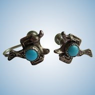 Vintage Earrings – Saddle with Turquoise Colored Accent – Screw Back