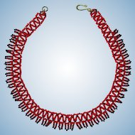 Vintage 1960's Seed Bead Choker in Red and Black