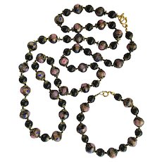 Vintage Venetian Art Glass Necklace and Bracelet in Black – Wedding Cake Beads