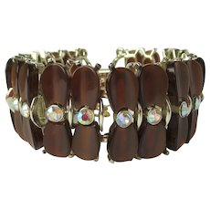 Vintage 1950's Bracelet in Coffee Color with Rhinestones – Signed Star