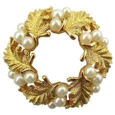 Vintage 1960's Crown Trifari Wreath Brooch with Gold-Tone Leaves and Faux Pearls