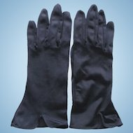 Vintage Dark Blue Gloves with Flared Cuffs Size 7