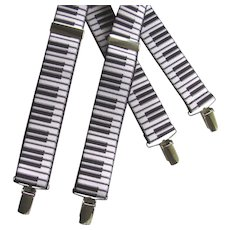 Vintage Piano Keyboard Suspenders with Black and White Keys - Red Tag Sale Item