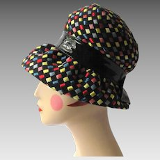 Vintage 1960 s Hat with Brim – Mod Look with Colorful Squares 5952723f76e
