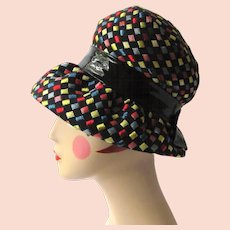 Vintage 1960's Hat with Brim – Mod Look with Colorful Squares