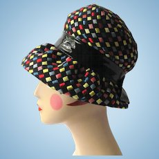 Vintage 1960's Hat with Brim – Mod Look with Squares of Black – Red – Yellow – Blue
