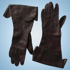Vintage Leather Gauntlet Gloves in Dark Chocolate Color by Perfect's – Women's Size 6 ½