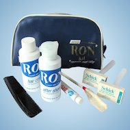 Vintage 1960's United Airlines RON Amenity Kit for Men with Original Vanity Items
