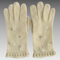 Vintage Gloves in Off-White with Rhinestones and Faux Pearl Accents