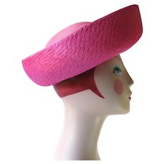 Vintage 1960's Straw Hat in Two Shades of Pink - Breton Style
