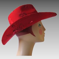 Vintage Red Cowboy Hat with Sequins and Rose Design