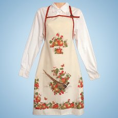 Vintage Thanksgiving Apron - Autumn Motif with Pheasant and Fruit