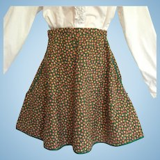 Vintage Calico Apron with Tiny Orange and Yellow Flowers and Green Leaves