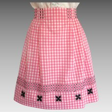 Vintage Apron in Pink Gingham with Cross-Stitch Design