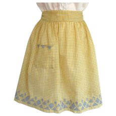 Vintage Gingham Apron in Saffron Yellow with Cross-Stitch Design