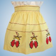 Vintage Child's Apron in Yellow with Pierrot Appliques