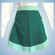 Vintage Reversible Apron in Green with Flower Print Accents