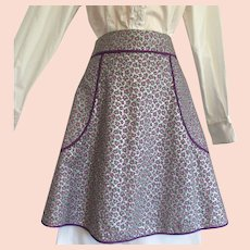 Vintage Apron with Purple and Silver Calico Fabric