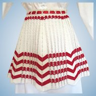 Vintage Crocheted Apron in Red and White