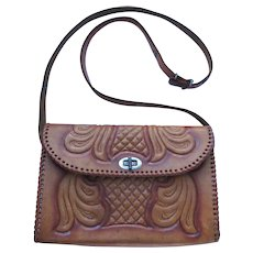Vintage Hand-Tooled Leather Handbag in Caramel Color with Convertible Strap