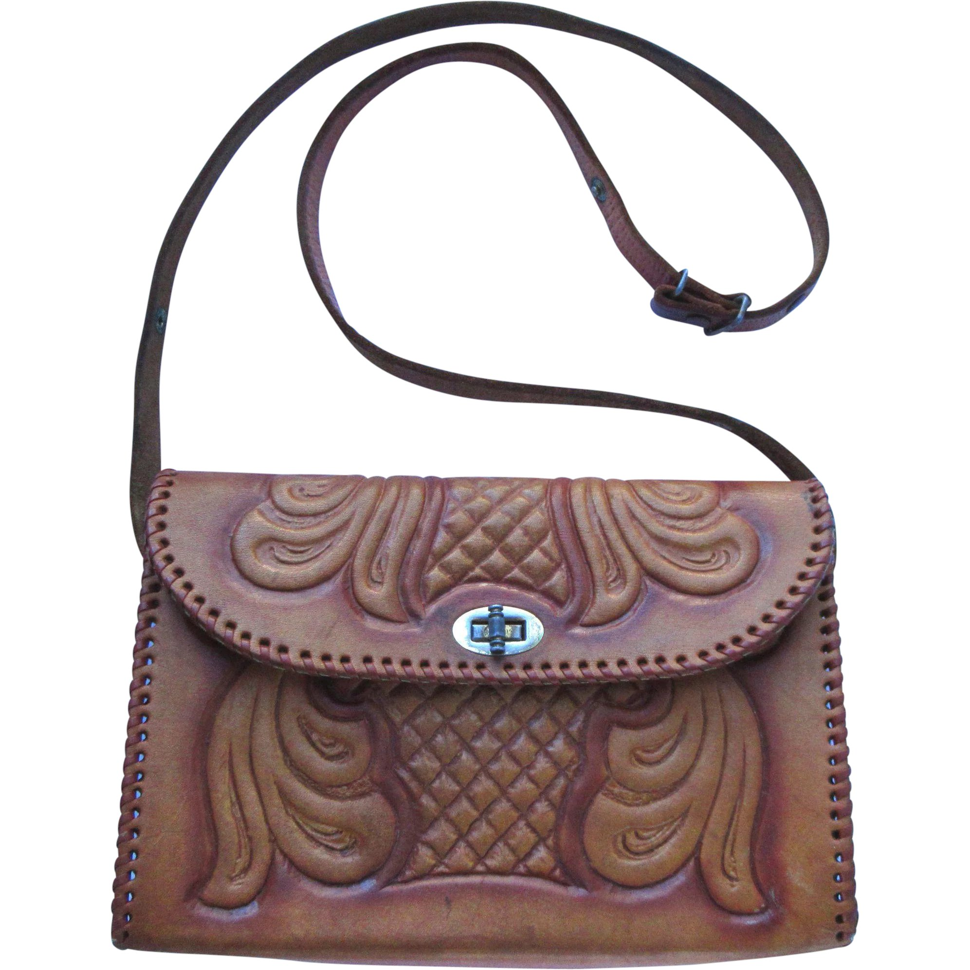 206fad2ef4 Vintage Hand-Tooled Leather Handbag in Caramel Color with Convertible    Whimsy