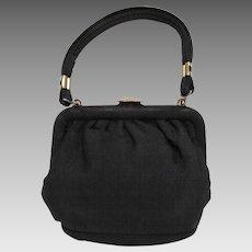 Small Vintage Handbag in Black Corde with Heart Clasp