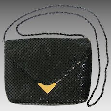 Vintage Black Mesh Clutch with Convertible Strap - Size Small
