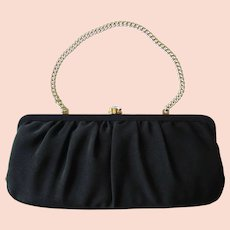 Vintage Black Corde Convertible Clutch with Rhinestone Clasp by Garay