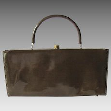 Vintage 1950s Handbag in Taupe Vinyl with Baguette Styling