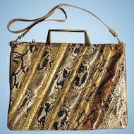 Vintage Varon Python Leather Handbag in Briefcase Style with Convertible Strap