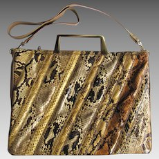 ec8055842740 Vintage Varon Python Leather Handbag in Briefcase Style with Convertible  Strap