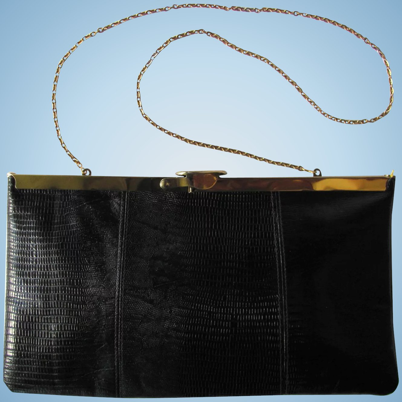 4d604815d13b Vintage 1950 s Black Leather Convertible Clutch with Hinged Frame by Etra.  Click to expand