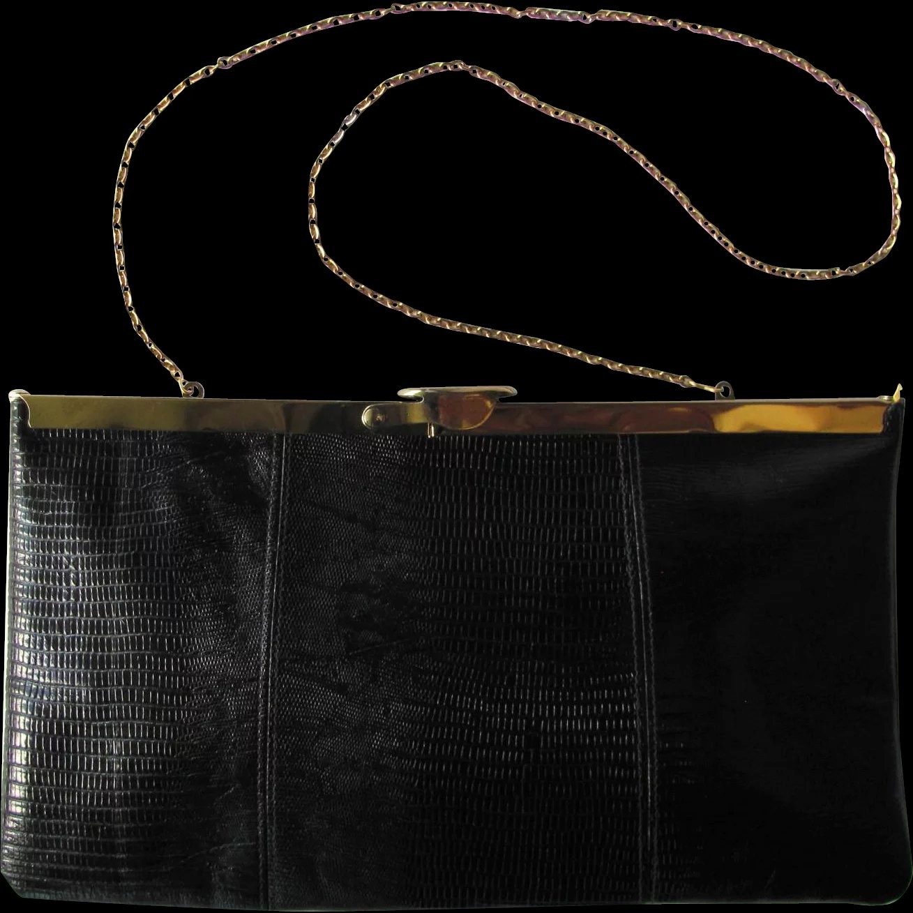 cb985dcd3c5b Vintage 1950 s Black Leather Convertible Clutch with Hinged Frame by    Whimsy