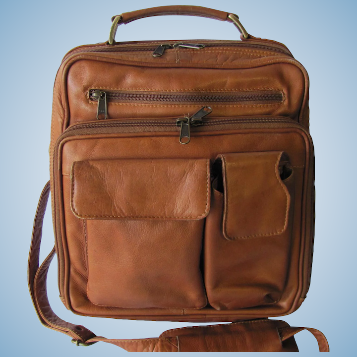 abe4f8895e22 Men's Vintage Leather Commuter Bag in Tawny Color - Vertical with Crossbody  Strap