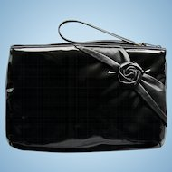Vintage 1960s Clutch of Black Patent with Black Leather Rose Accent – by Shapiro Travelware