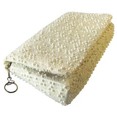 Vintage Lumured Clutch in Champagne with White and Clear Corde Bead Accents