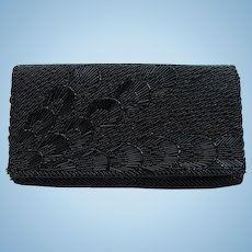 Vintage 1950s Evening Bag in Black with Stylized Floral Pattern and Convertible Chain