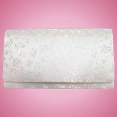 Vintage White Silk Brocade Evening Clutch - Ori-Dono Made in Japan - Mint in Box