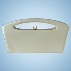 Vintage 1960s Handbag in Cream with Flared Shape and Cutout Handle