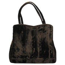 Vintage 1950's Handbag in Brown Velvet with Rhinestone Clasp by HL – Harry Levine