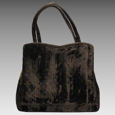 Vintage 1950's Handbag in Chocolate Brown Velvet with Rhinestone Clasp by HL – Harry Levine