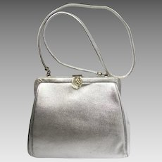 Vintage 1960's Handbag in Silver Vinyl with Decorative Rhinestone Clasp by After Five