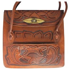 Vintage Hand-Tooled Western Handbag in Deep Tawny Leather with Three Compartments