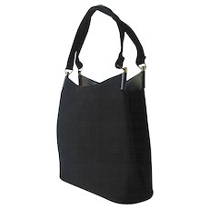 Vintage 1940's Handbag in Black Fabric with Two Handles