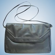 Vintage Leather Handbag with Cross-Body Strap in Medium Grey